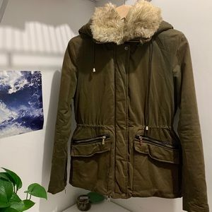 Zara faux fur winter jacket in size XS